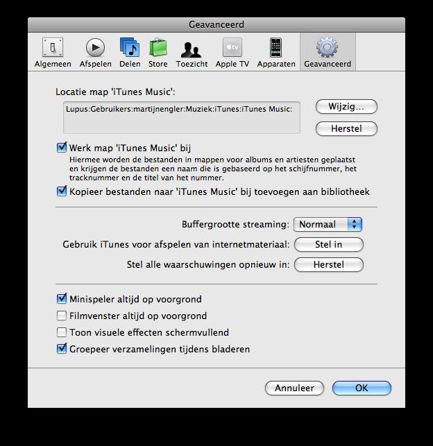 iTunes: bestanden beheren