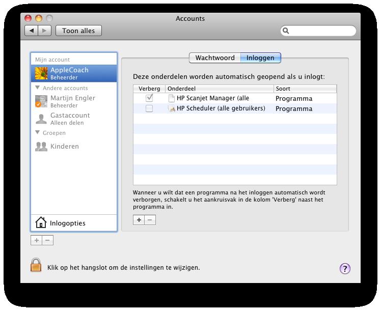 Automatisch opstarten van programma's