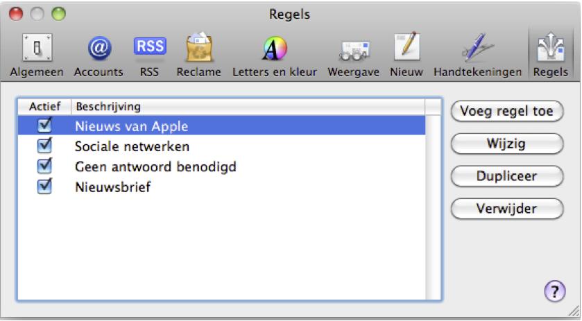 Email regels voorbeeld