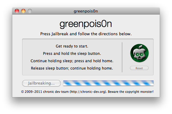 greenpois0n met iPhone, iPad of iPhone Touch in DFU mode