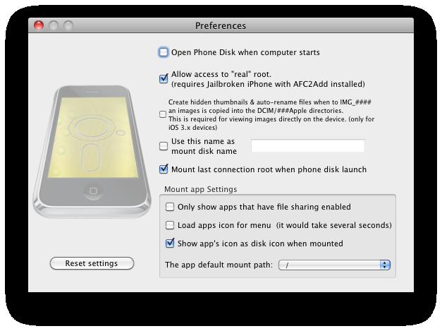 PhoneDisk voorkeuren
