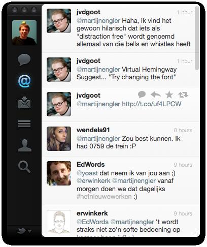 Twitter voor Mac: @mentions