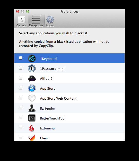Sommige apps liever niet in CopyClip? Sluit ze eenvoudig uit