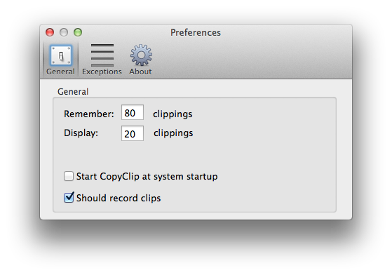 CopyClip: de voorkeuren
