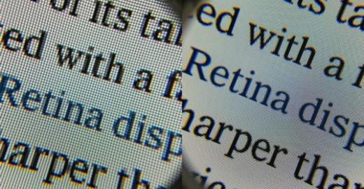 Een voorbeeld van Retina- en non-Retina tekst naast elkaar