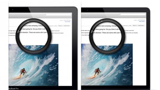 """Een voorbeeld van tekst op een """"gewoon"""" scherm en een Retina-scherm"""