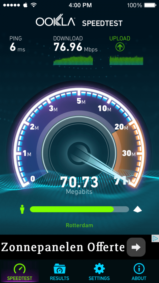 Je upload meten met Speedtest. Het kan goed zijn dat deze (veel) lager is dan je download. Controleer dit altijd met je provider voor je boos belt. ;)