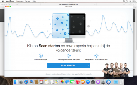 MacKeeper biedt aan een scan uit te voeren, die altijd honderden fouten vindt; zelfs op een schone installatie