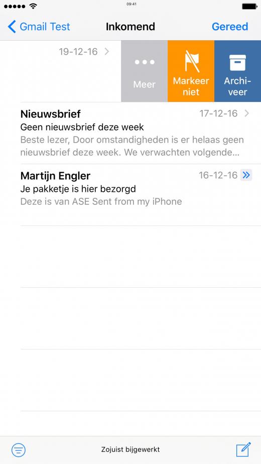 Van rechts naar links vegen in Mail laat je verschillende opties zien