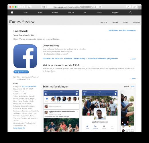 De Facebook app gebruikt bijna 400MB op je iPad.