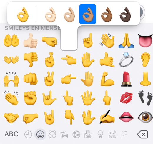 Selecteer verschillende huidtinten bij bepaalde emoji