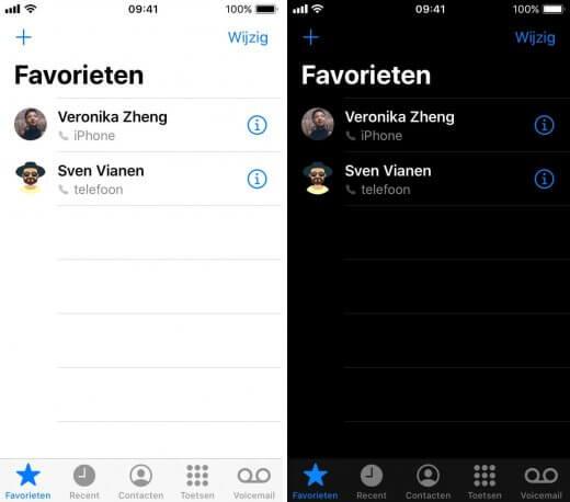 Links de telefoon app met heldere, witte kleuren. Rechts dezelfde telefoon app, maar nu met veel zwart en donkere kleuren.