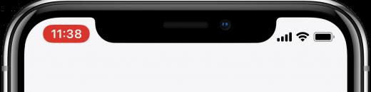 Wanneer er audio wordt opgenomen verschijnt op iPhone X linksboven een rood balkje
