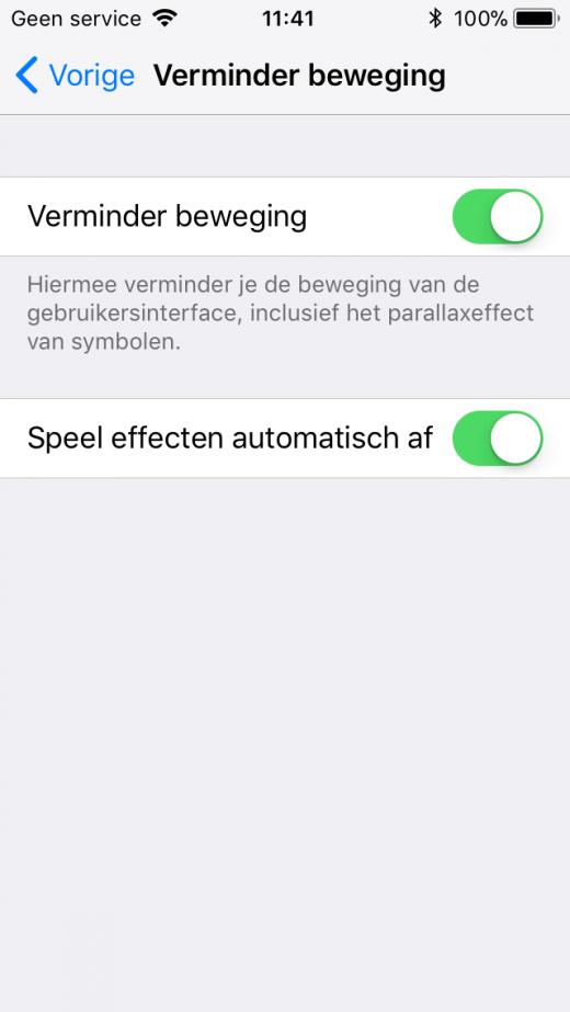 Het verminderen van effecten kan een positieve invloed hebben op de snelheid van je iPhone