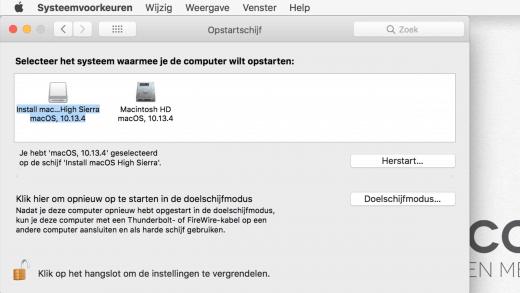 Je kunt de opstartschijf selecteren in de Systeemvoorkeuren van macOS
