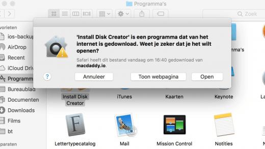 Omdat Install Disk Creator niet in de Mac App Store kan, zul je eerst een waarschuwing krijgen