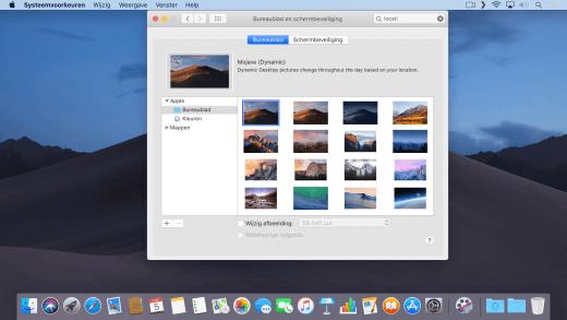 Gebruik een dynamische achtergrond in macOS 10.14 die automatisch verandert door de dag heen
