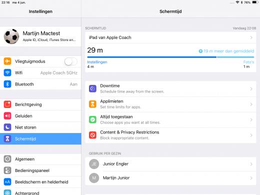 Schermtijd op de iPad met iOS 12