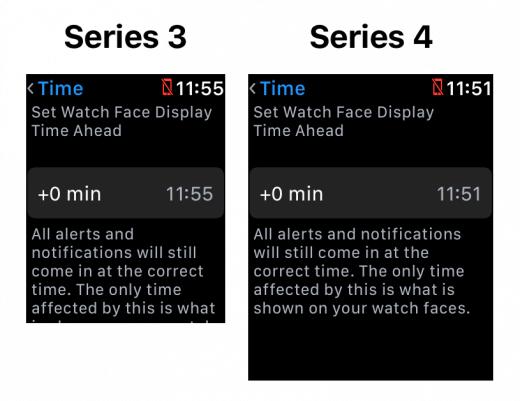 Door de hogere resolutie kan de Instellingen app op de Apple Watch meer tekst tegelijk laten zien. Zo is het niet meer nodig om te scrollen om de begeleidende tekst te lezen, omdat deze al gelijk op het scherm past. Ook is de tekst wat beter leesbaar.