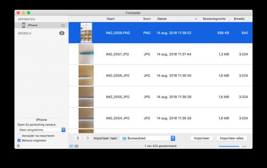 Gebruik je Foto's niet op je Mac? Gebruik dan de Fotolader om foto's van je iPhone of iPad te halen