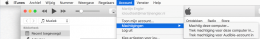 Haal je Mac eerst uit iTunes, zodat er een plek vrij komt