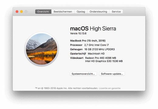 """De specificaties van je Mac vindt je bij """"Over deze Mac"""""""