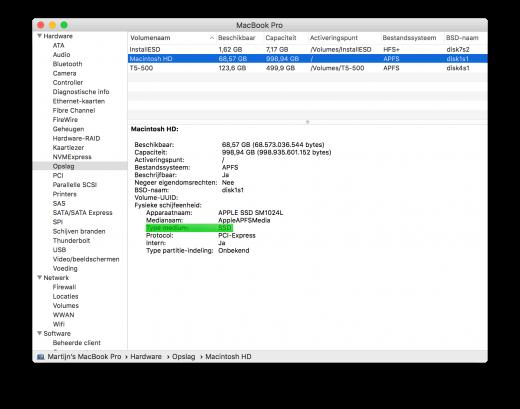 Zoek op welk type schijf er in je Mac zit en vermeld dit ook in de advertentie