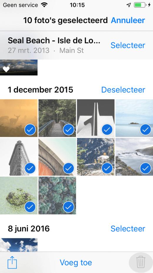 Wanneer de foto's gesynchroniseerd zijn via iTunes kun je ze niet verwijderen op je iPhone of iPad