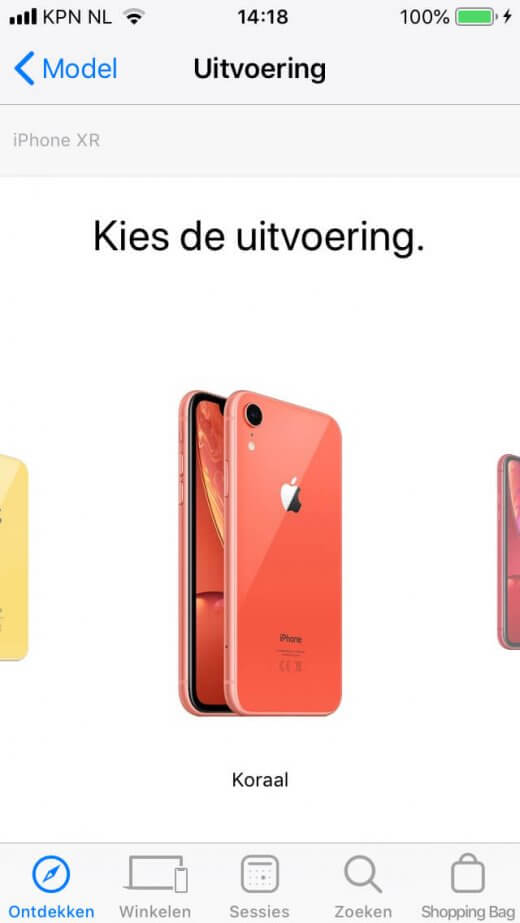 Bestel je favoriete iPhone via de Apple Store app