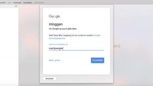 Mini-website van Gmail bij instellen van IMAP