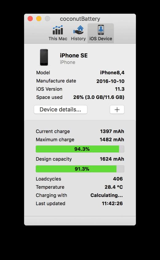 In coconutBattery vind je allerlei details over de batterij in je iPhone