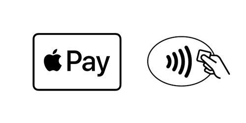 """Logo's van Apple Pay (het Apple logo, gevolgd door het woord """"Pay"""") en Contactloos betalen"""