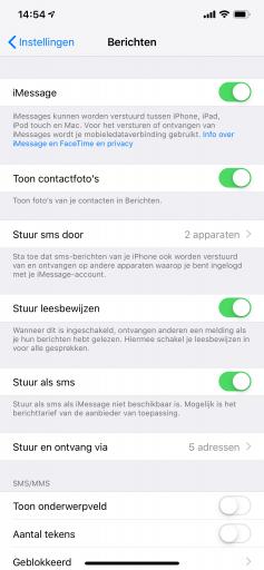 iMessage wordt ingeschakeld in de app Instellingen