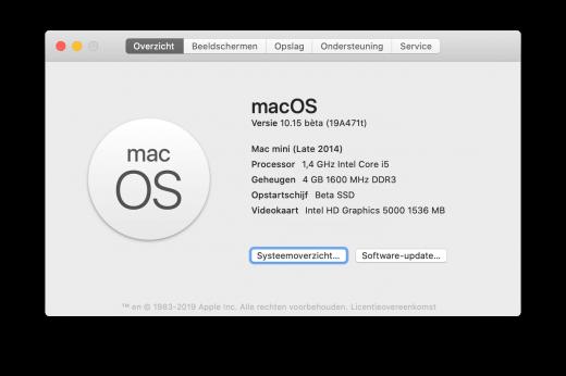 Een Mac mini (eind 2012) met macOS 10.15 Catalina