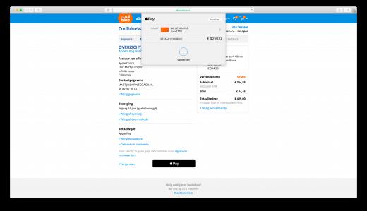 Safari laat een mogelijkheid zien om te betalen met Apple Pay bij webwinkel Coolblue