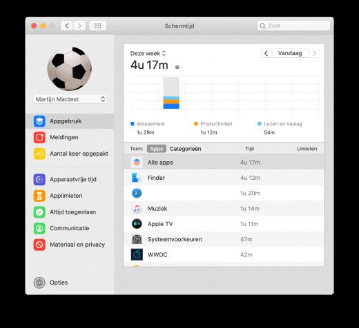 Schermtijd laat je op de Mac ook zien hoe veel tijd je doorbrengt achter je computer