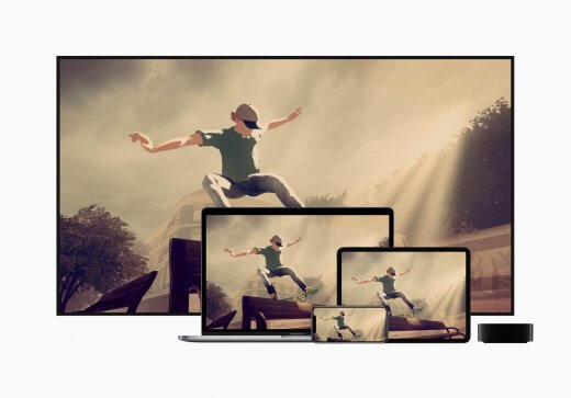 Een iPhone, iPad, MacBook, en TV die een skatespel uit Apple Arcade demonstreren