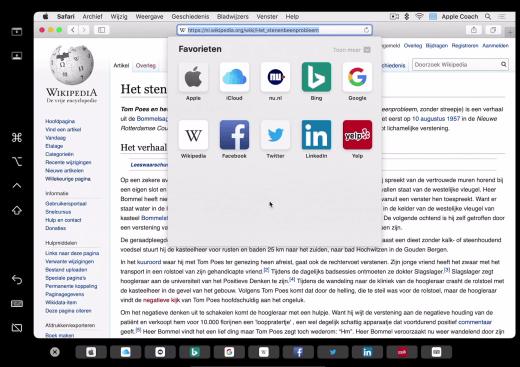 Een venster van Wikipedia op de Mac, weergegeven op de iPad via Sidecar