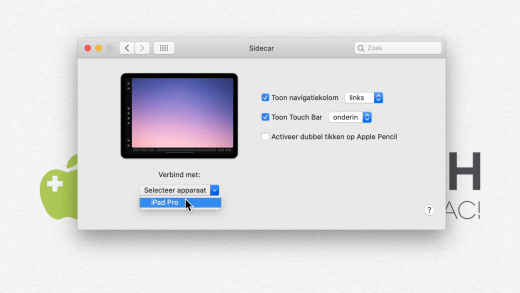 Verbinden met de iPad via Sidecar is eenvoudig via Systeemvoorkeuren
