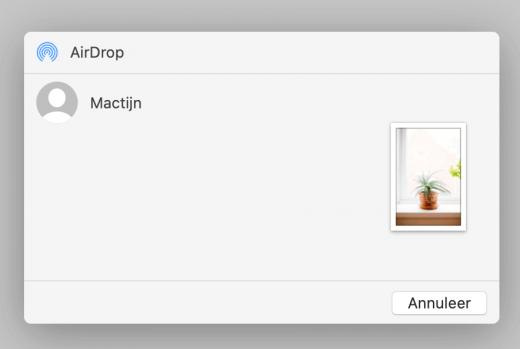 Delen vanuit het deelmenu op de Mac is ook eenvoudig