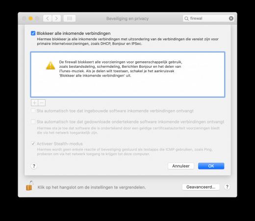 Blokkeer je alle inkomende verbinden met je Mac firewall? Dan zal AirDrop ook niet werken.