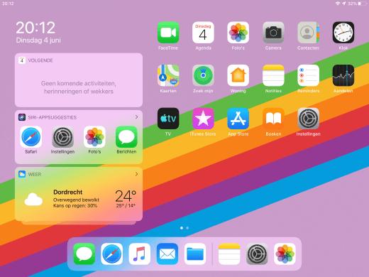 Het vernieuwde thuisscherm van iPadOS 13 met de widgets aan de linkerkant