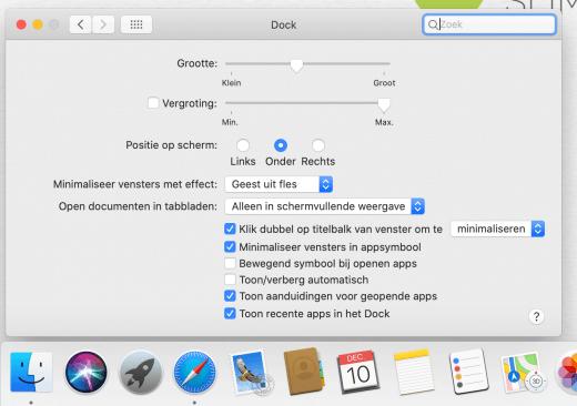 Zet eenvoudig een klein zwart puntje onder apps die op dit moment actief zijn