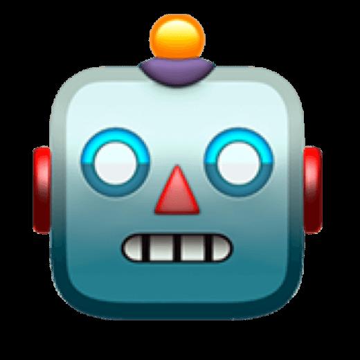 De robot emoji zoals ik deze zie op de Mac