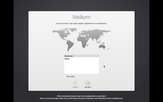 Stop bij dit scherm wanneer je een Mac nieuw installeert voor iemand