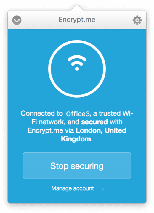 Encrypt.me laat je eenvoudig zien met welke server je verbonden bent, en op welk netwerk je momenteel zit