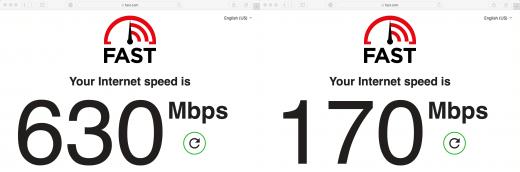 Twee internetsnelheden naast elkaar: de linker, zonder VPN, is 630Mbps. De rechter, met VPN is 170Mbps.