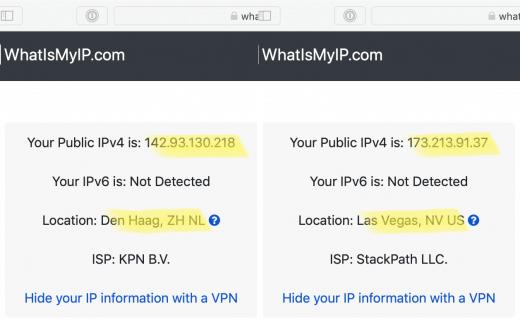 Links is voor het verbinden met een VPN in Amerika, rechts er na